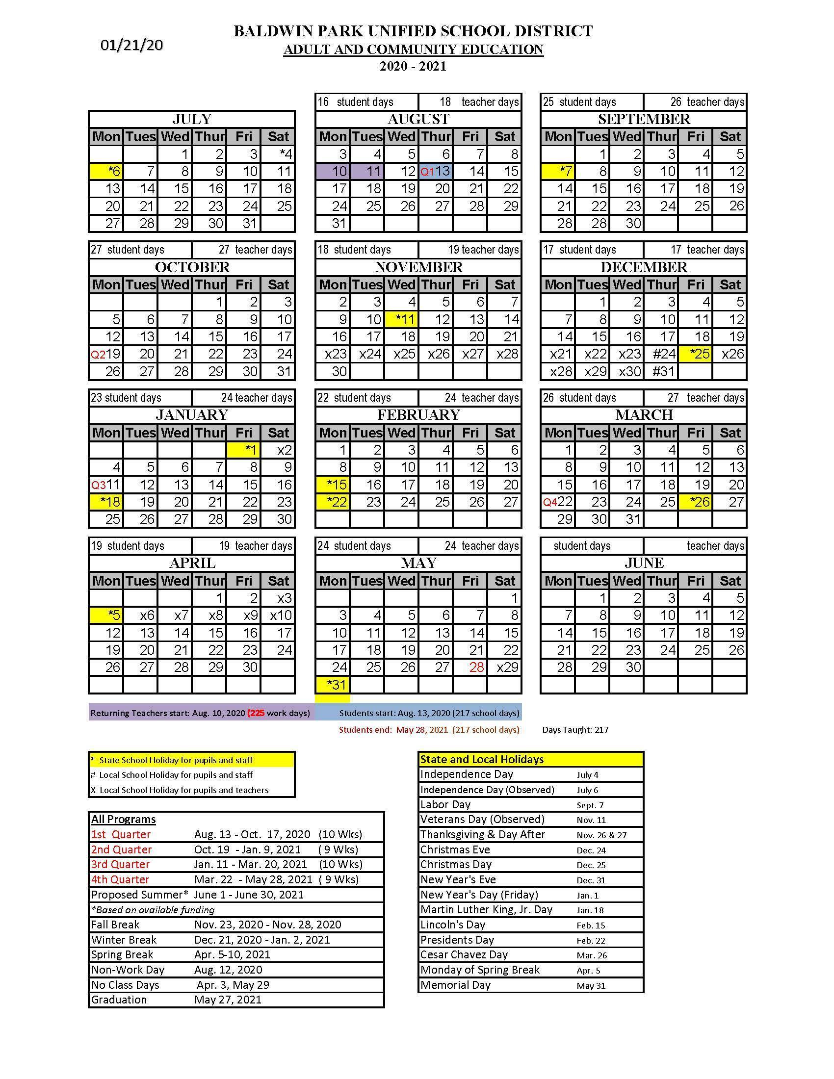 BPACE 2020-2021 School Year Calendar