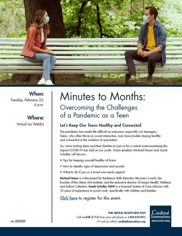 Supporting teens during a pandemic virtual presentation flyer