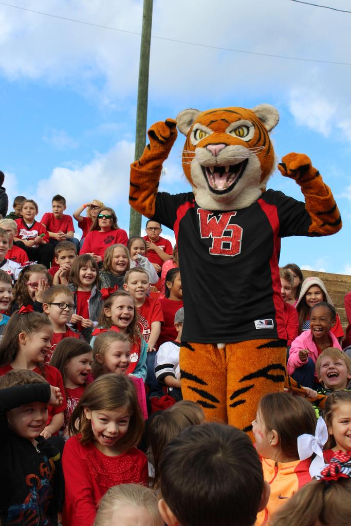 tiger mascot with students