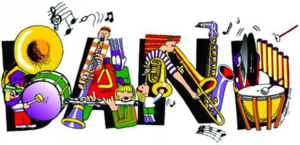 Graphic:  cartoon images of band instruments
