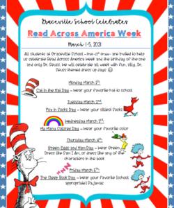 Schedule for Dr. Seuss dress up days