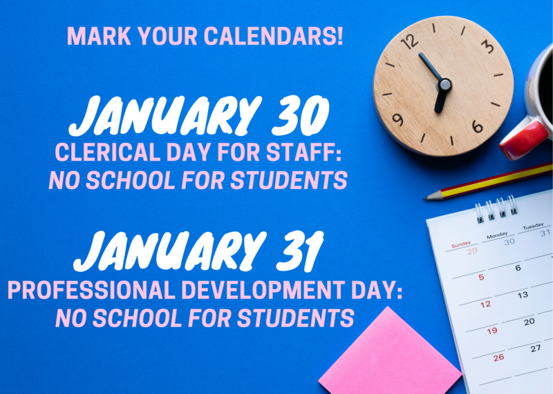 No School for Students on January 30-31