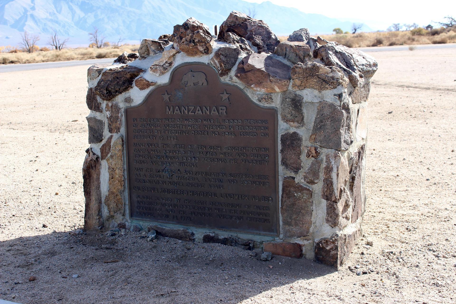Entrance plaque at Manzanar