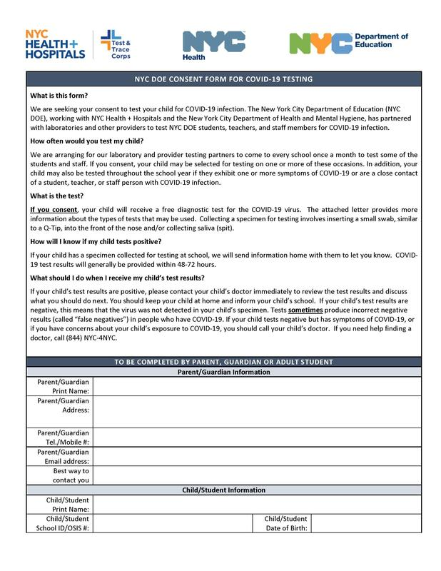 Student COVID-19 Testing Consent Form