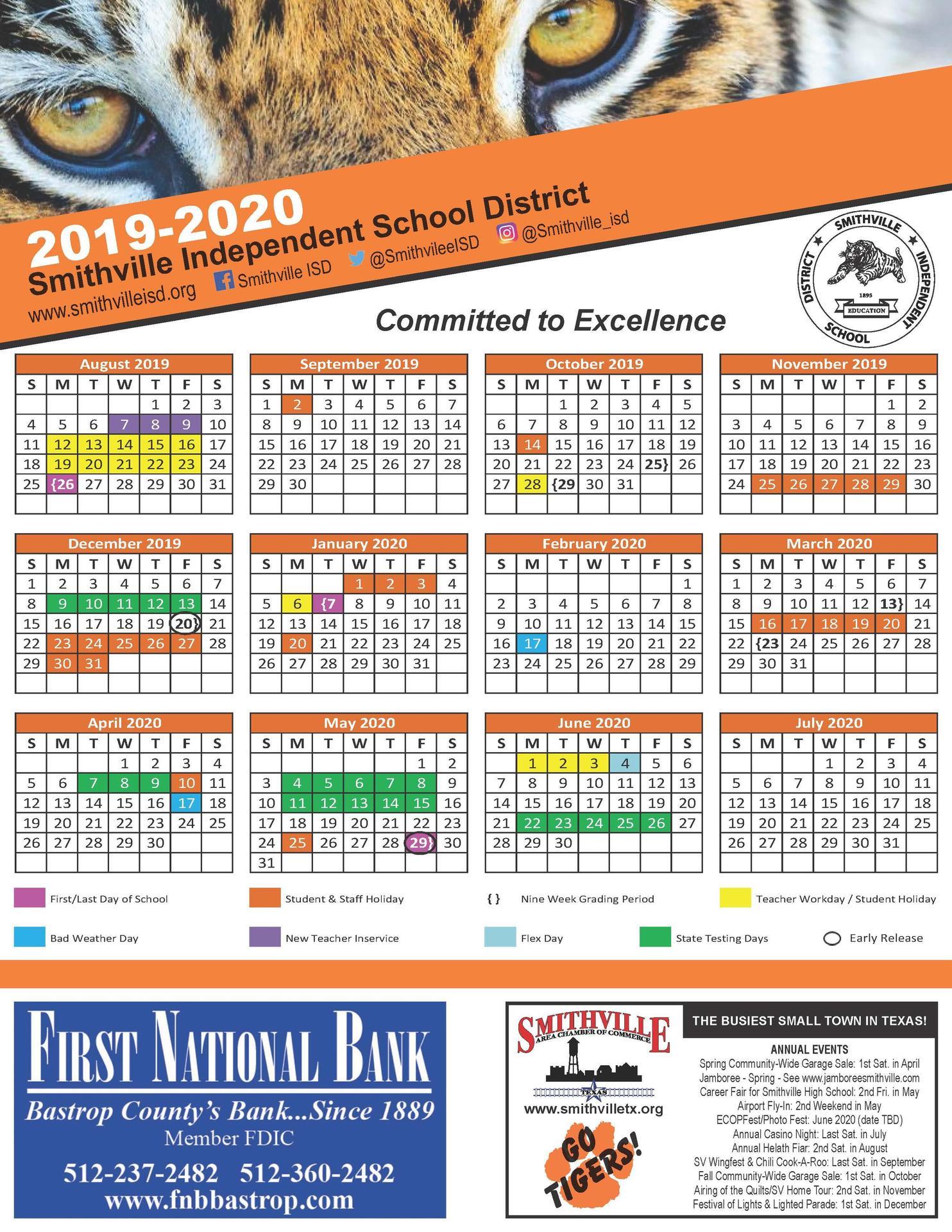 2019-2020 Smithville ISD Academic Calendar