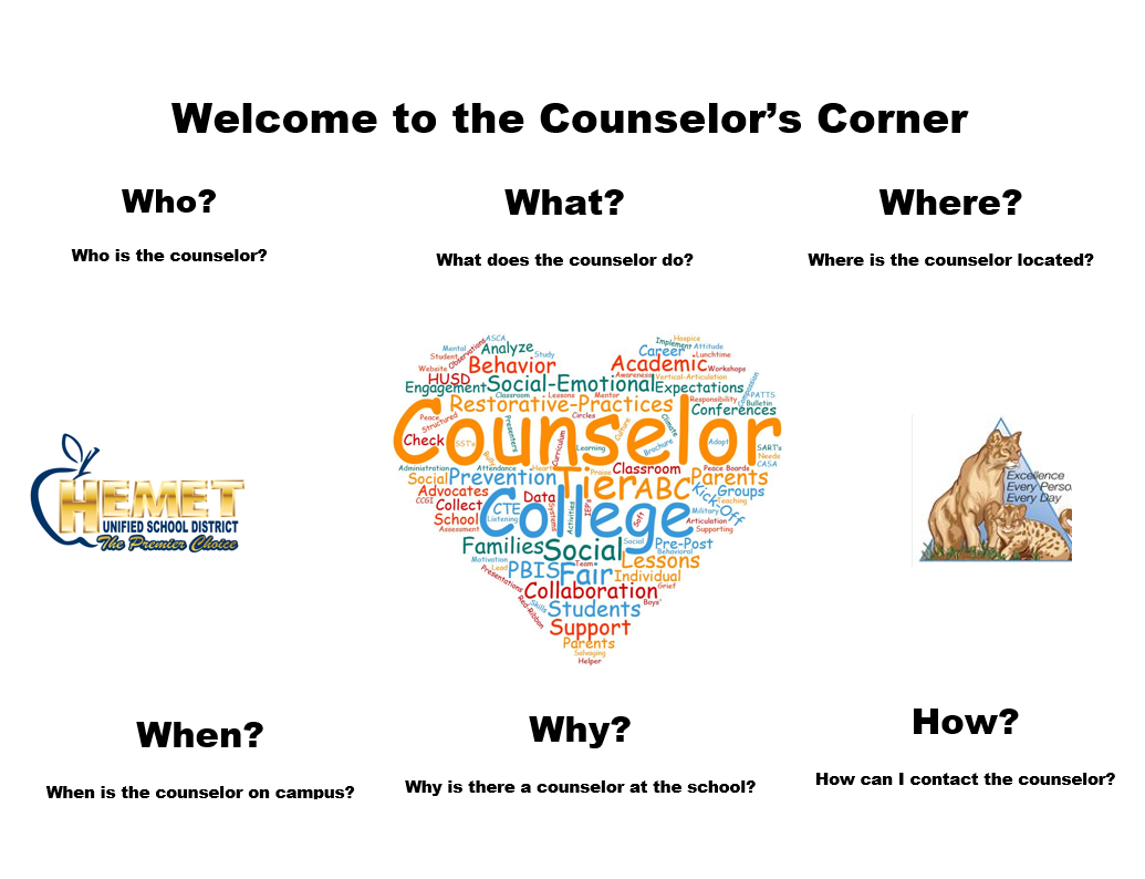 Infographic that asks the Who, What, Where, When, Why of Counseling.