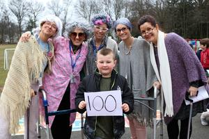 Photo of Tamaques 1st grade teachers dressed as elderly people on the 100th Day of School.