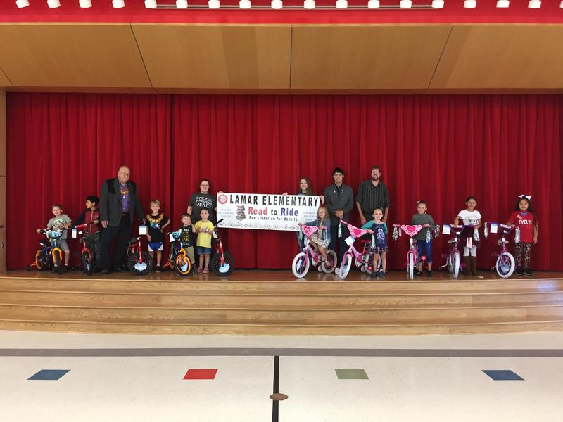 Read to Ride winners pictured with their bikes and Knights of Pythias representatives