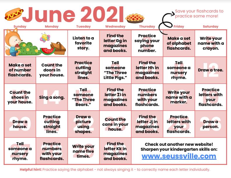 June Kindergarten Readiness Calendar