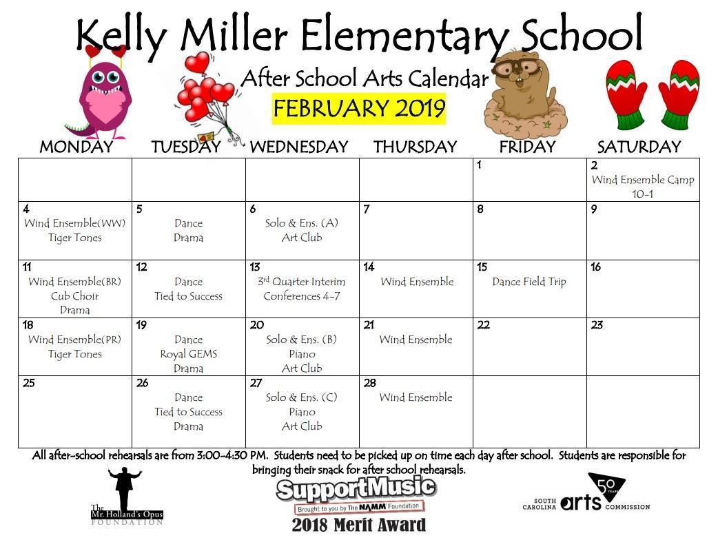 A calendar for February 2019 detailing arts rehearsals for the month.