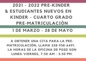 2021-2022 Preregistration in Spanish