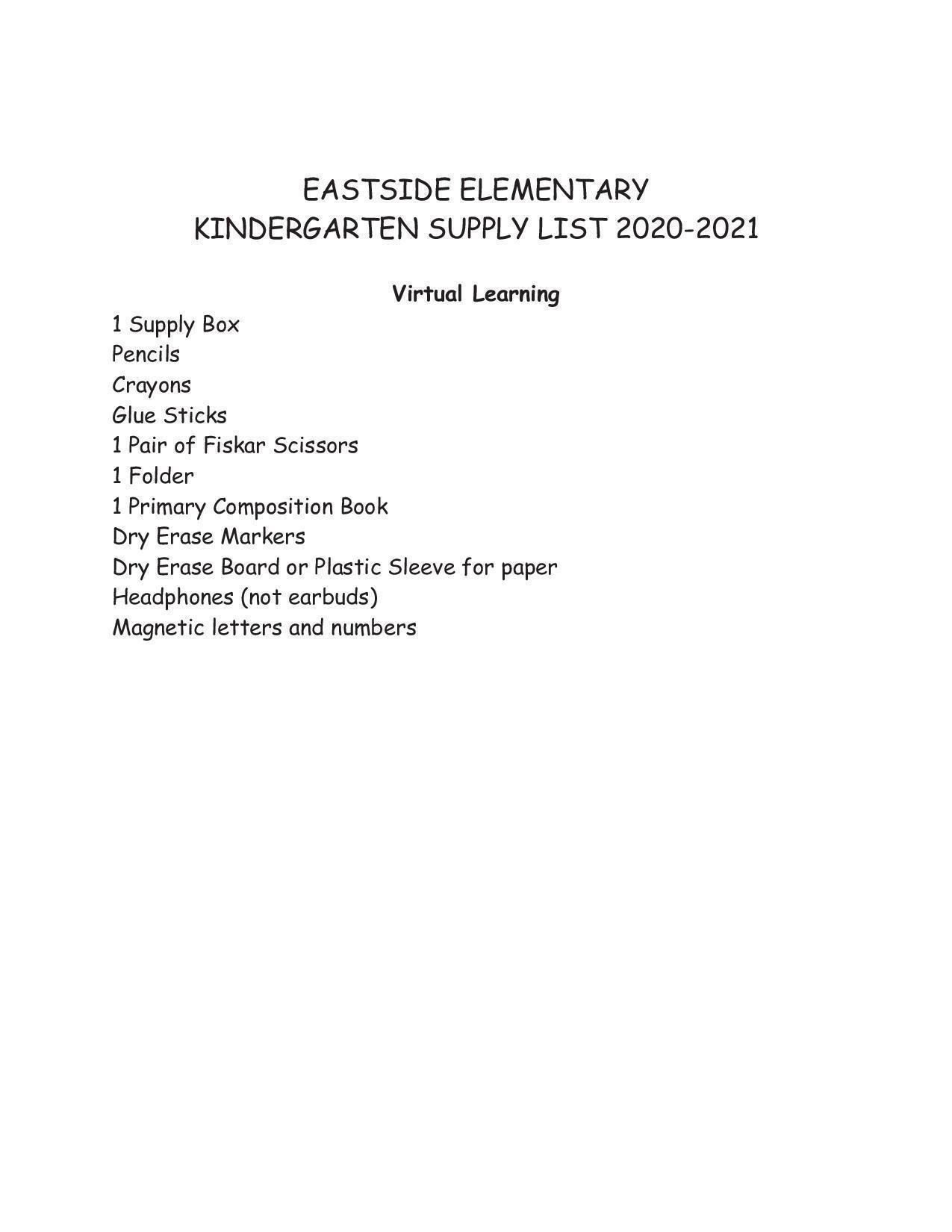 virtual kdg supply list