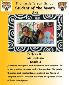 Jeffrey B. Art student of the month