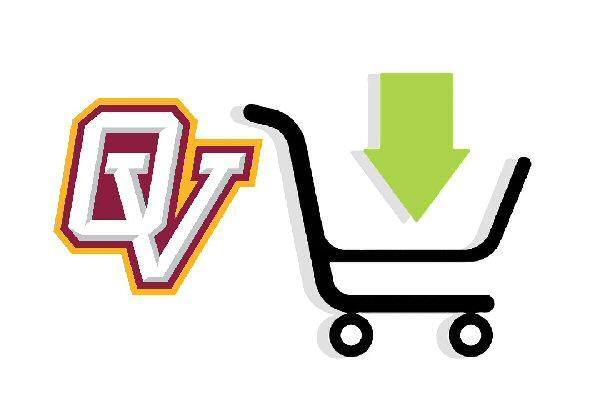 OV logo with a digital shopping cart
