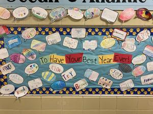 Photo of bulletin board with words
