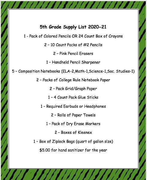 5rh Grade Supply List