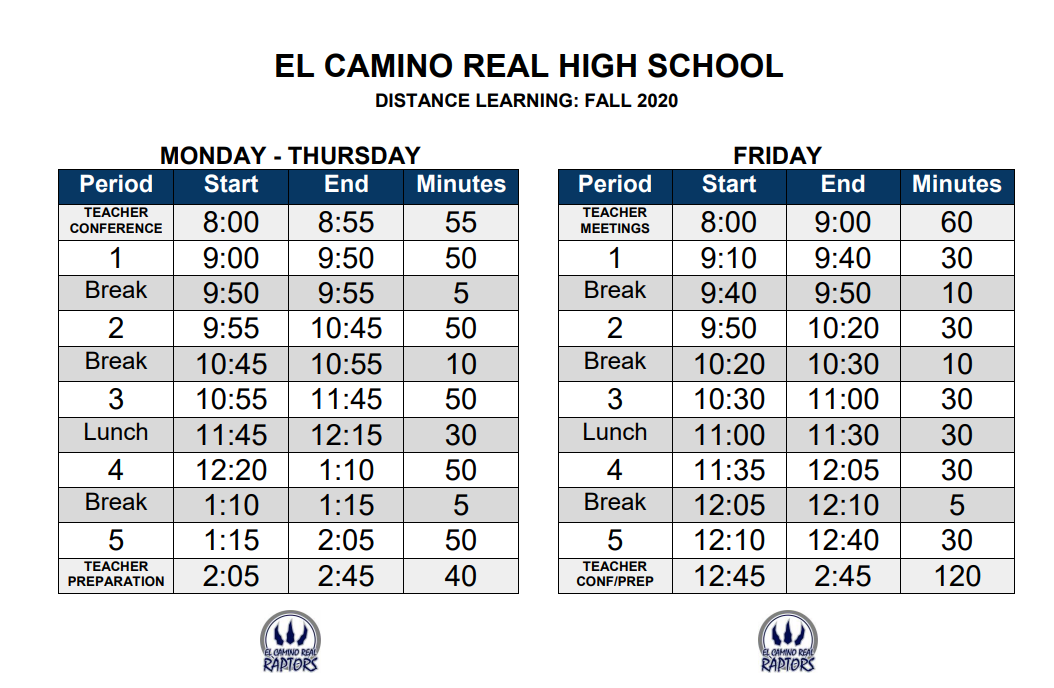 ECRHS Distance Learning Bell Schedule