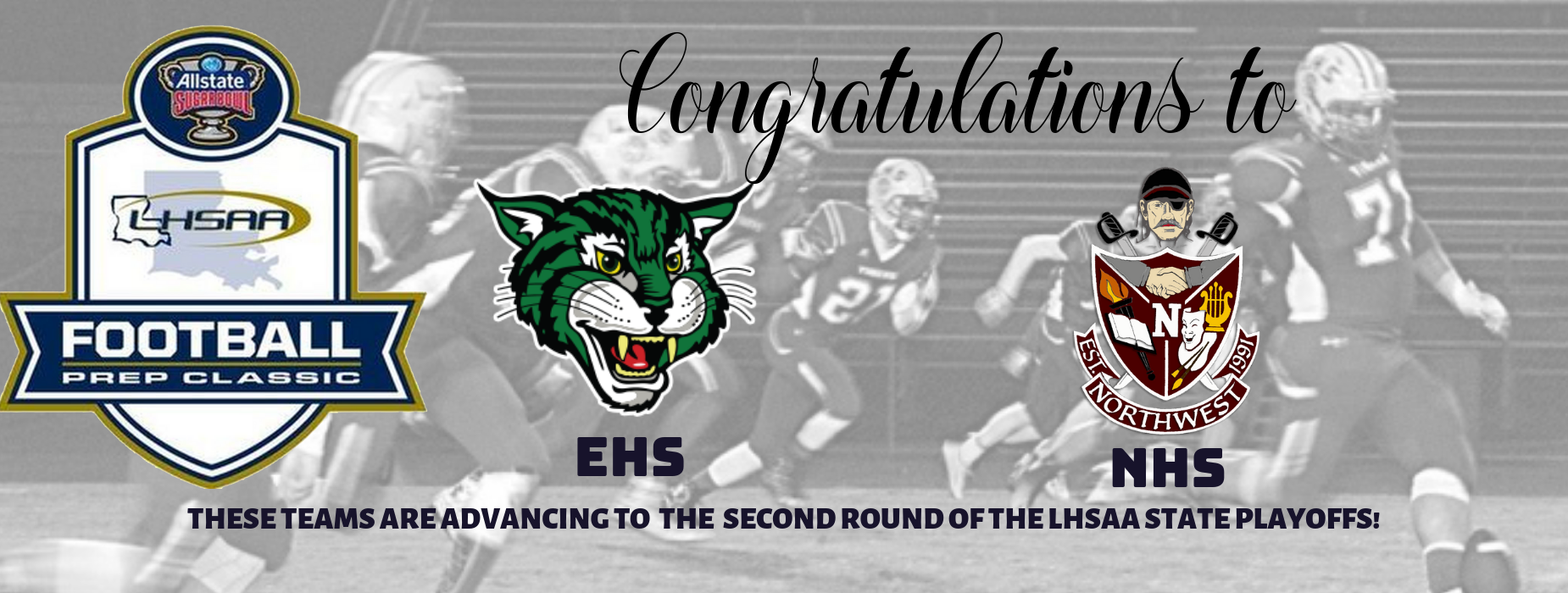 ehs and nhs are advancing to the 2nd round of the state football playoffs