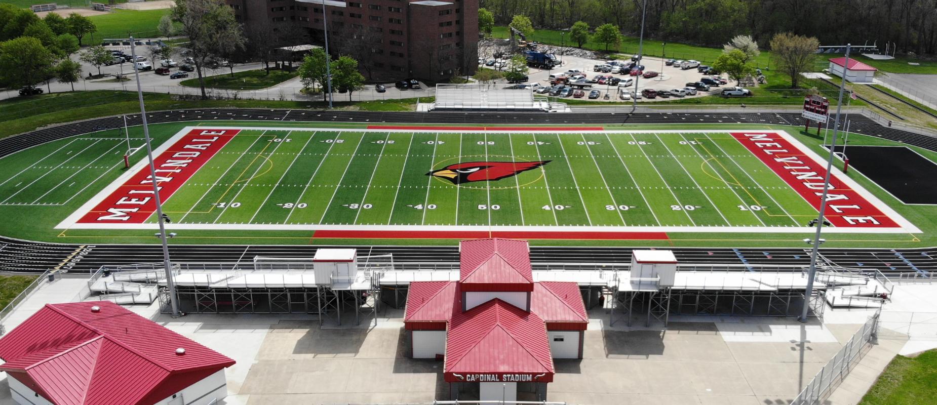 Ariel view of the athletics stadium football field.