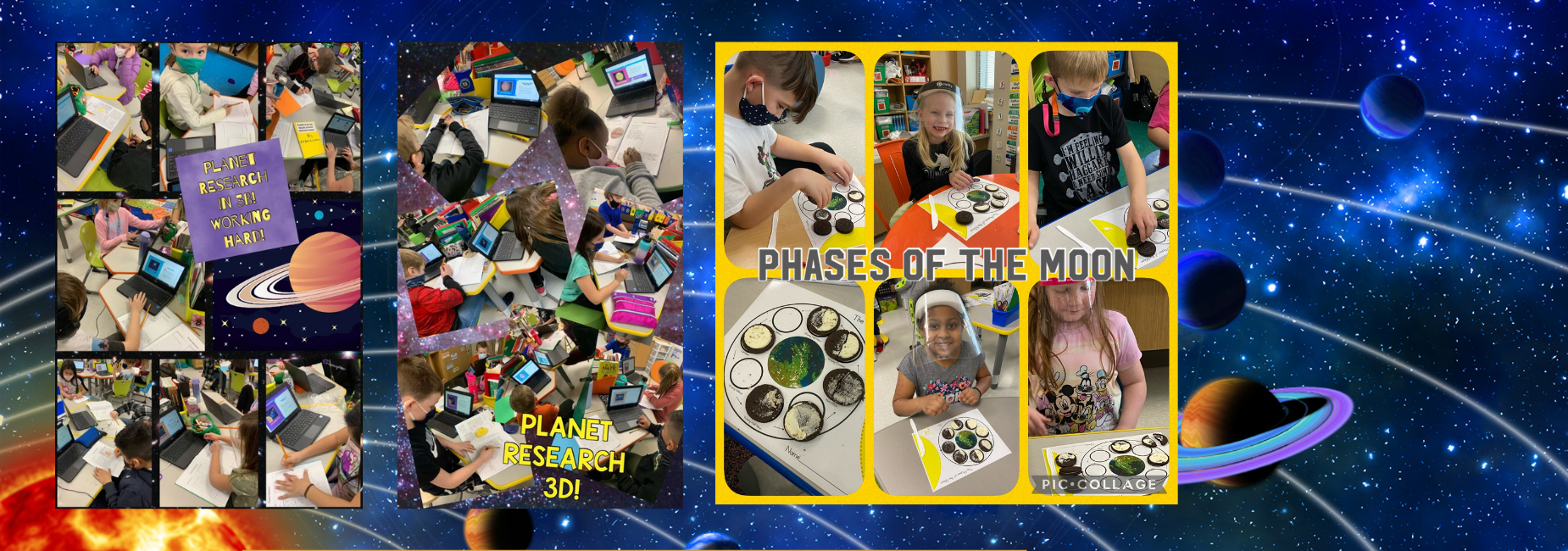 collage of images showing students learning about the solar system