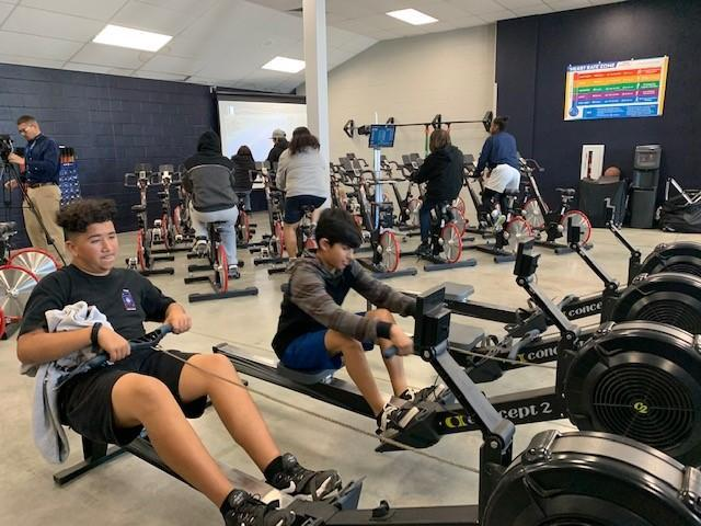 Students working out in the BHS fitness center