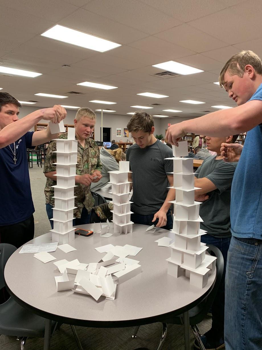 Building index card towers