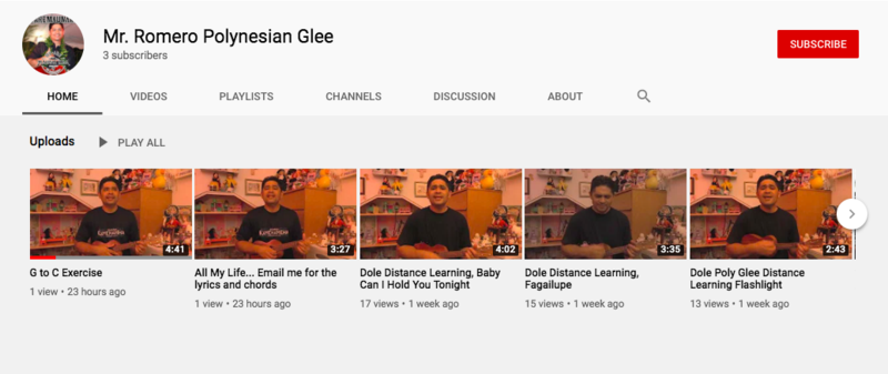 Mr. Romero's Polynesian Glee YouTube Channel Featured Photo