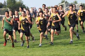 Several members of the Canton Cross Country Team participate in a group running activity.