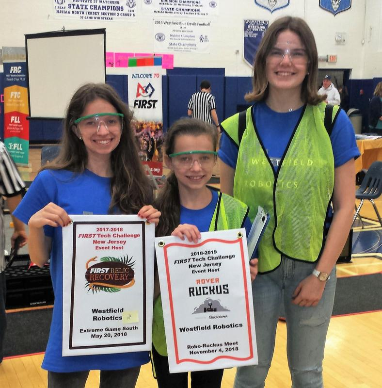 :  (L-R) Westfield Robotics Team members Kristina Hollosi, Hannah Hollosi, and Dorothy Kaplan participate in the FIRST Tech Challenge Robo-Ruckus on Sunday, Nov. 4 at Westfield High School.