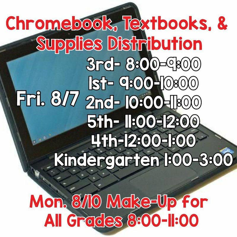 Chromebook Distribution Schedule 3rd-8:00-9:00 am 1st-9:00-10:00 am 2nd-10:00-11:00 am 5th-11:00-12:00 pm 4th-12:00-1:00 pm K-1:00-3:00 pm