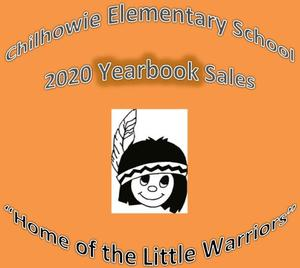 image of Little Warrior against orange background with title CES yearbook sales and home of the Little Warrior