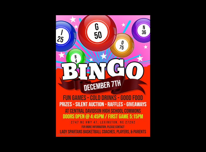 CDHS Bingo Fundraiser, December 7, 5:15 pm, Commons