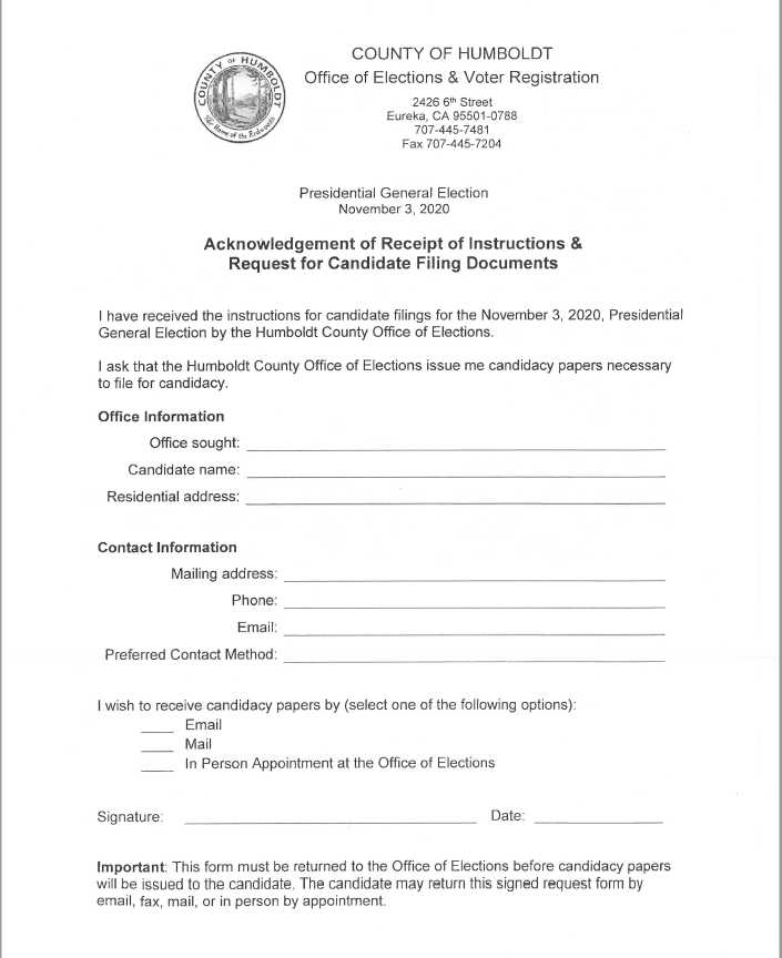 Board Vacancy Filing Document