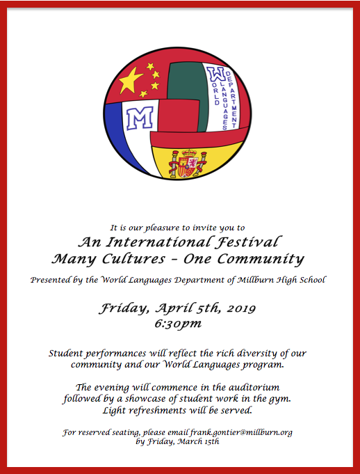 International Night Poster with graphic - same information as text
