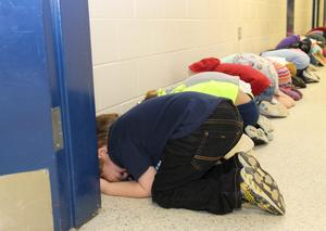 Students at B-L Primary School participate in a statewide tornado drill on Wednesday, March 13th.