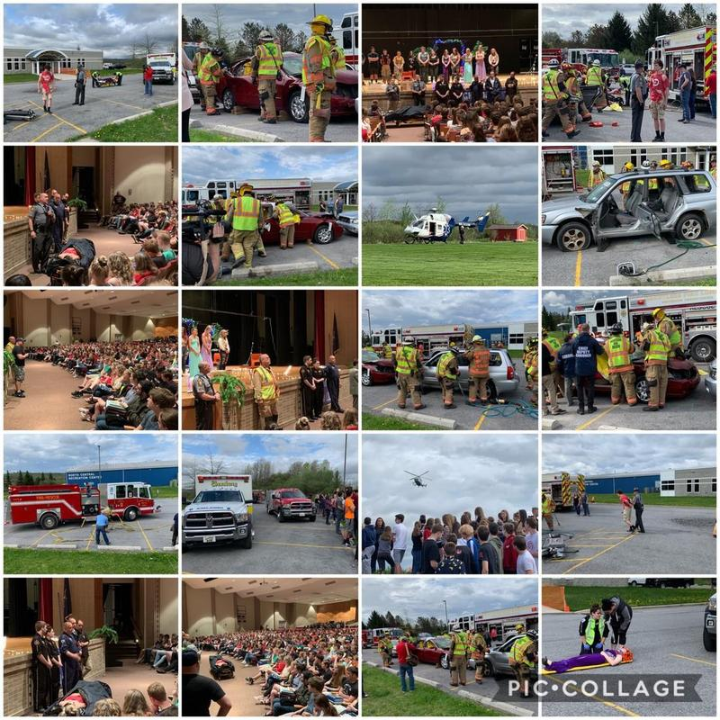 Collage of pictures from the mock accident
