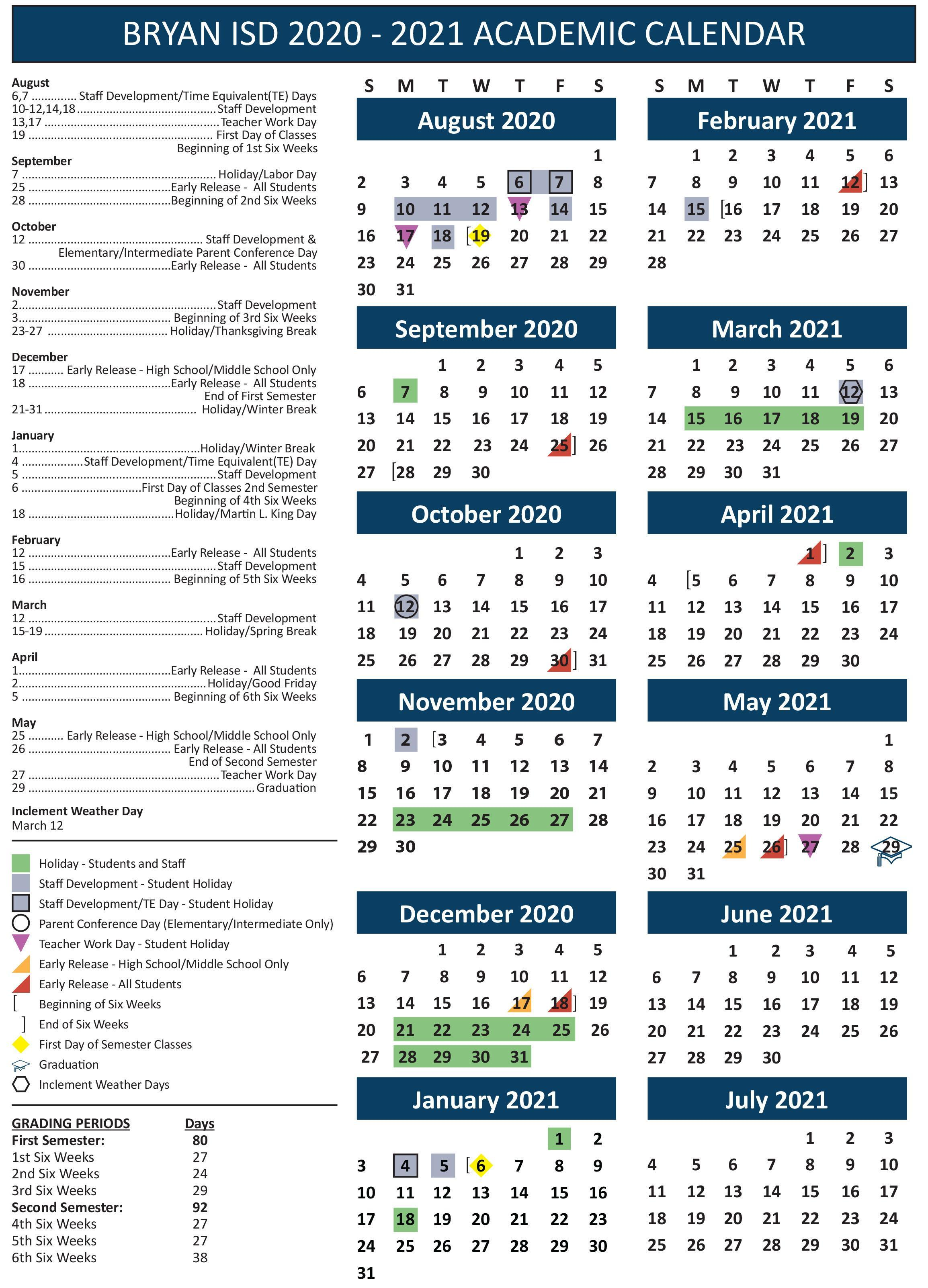 2020 2021 Academic Calendar for Bryan Schools