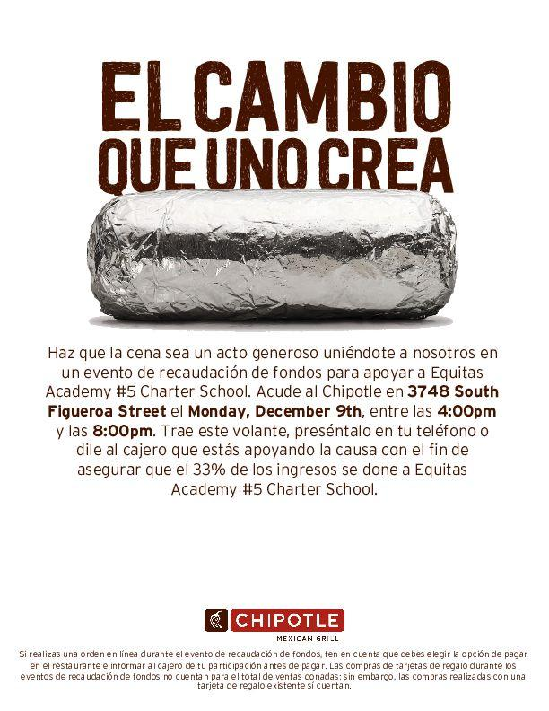 Chipotle fundraiser flyer - Spanish