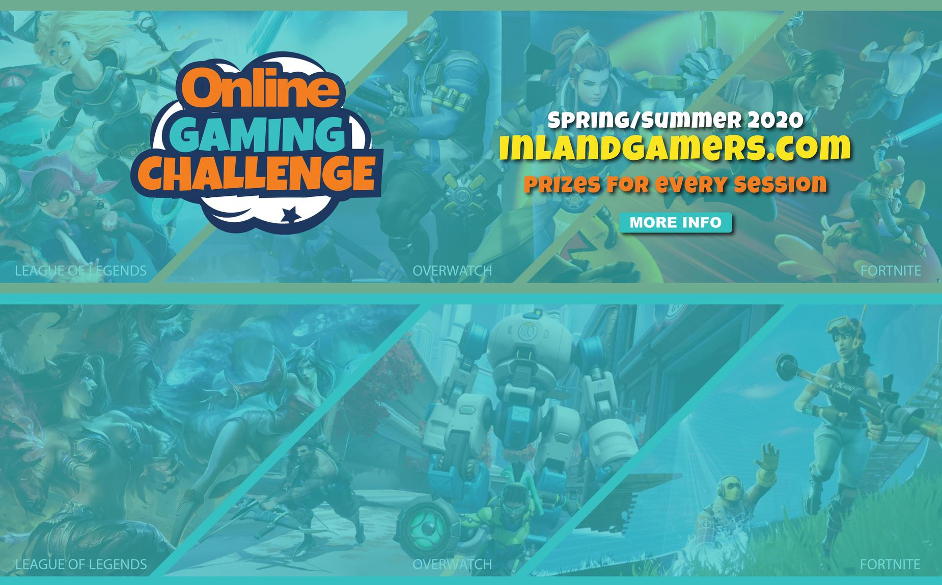 Online Gaming flyer in a teal palette of various games like League of Legends, Fortnite and Super Smash Bros action shots faded in the background. Flyer says