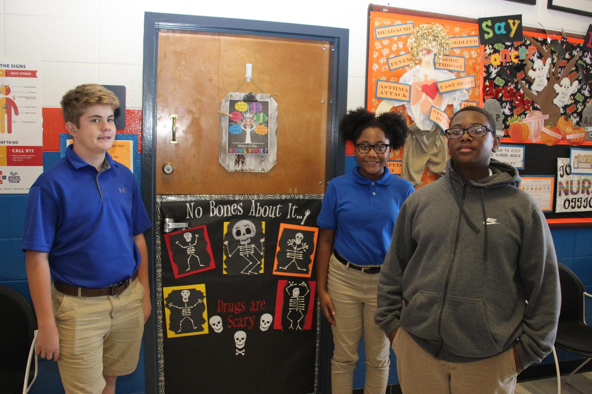 Students with Door Decor for Drug Free