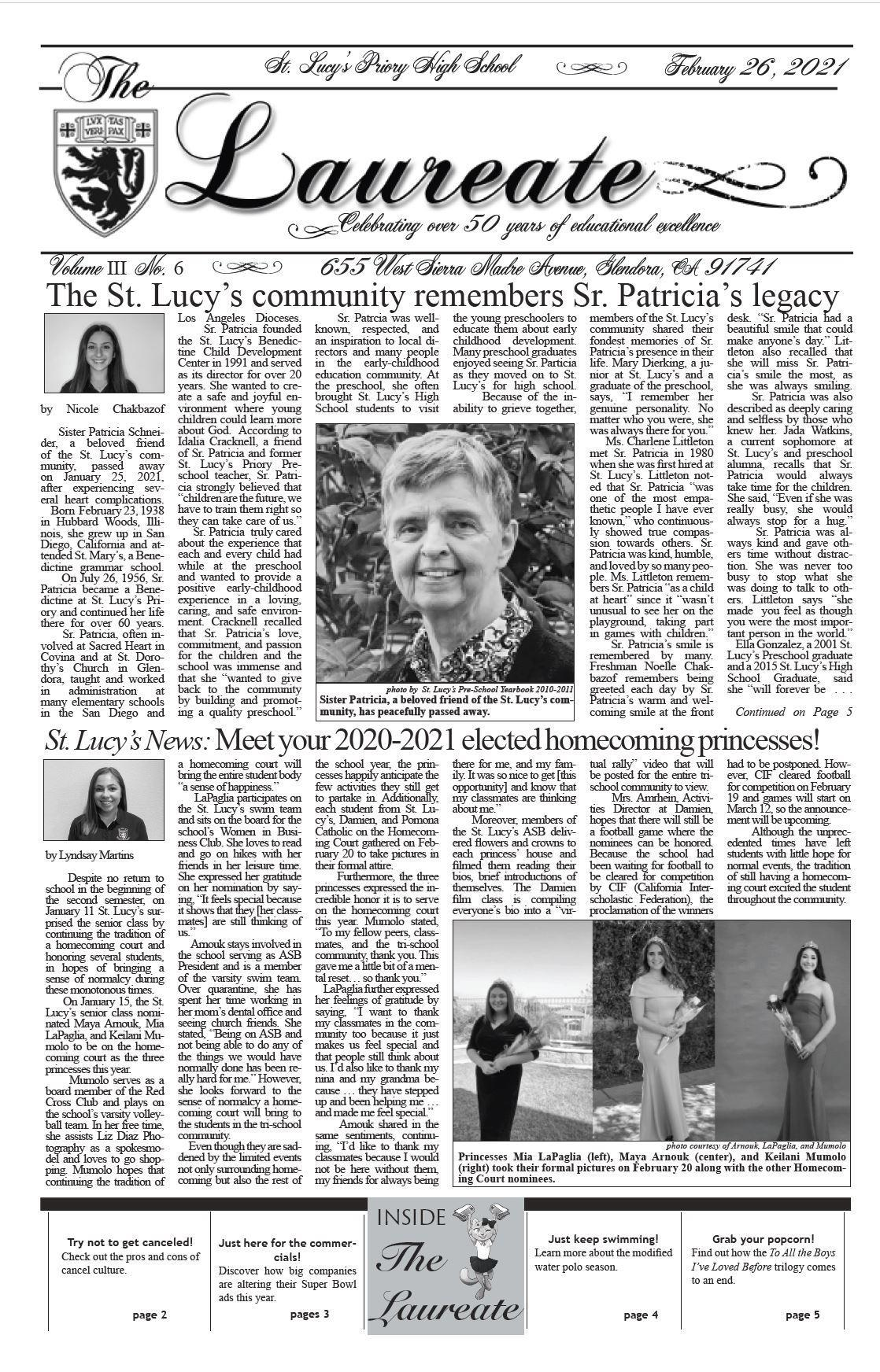 St. Lucy's The Laureate newspaper cover image