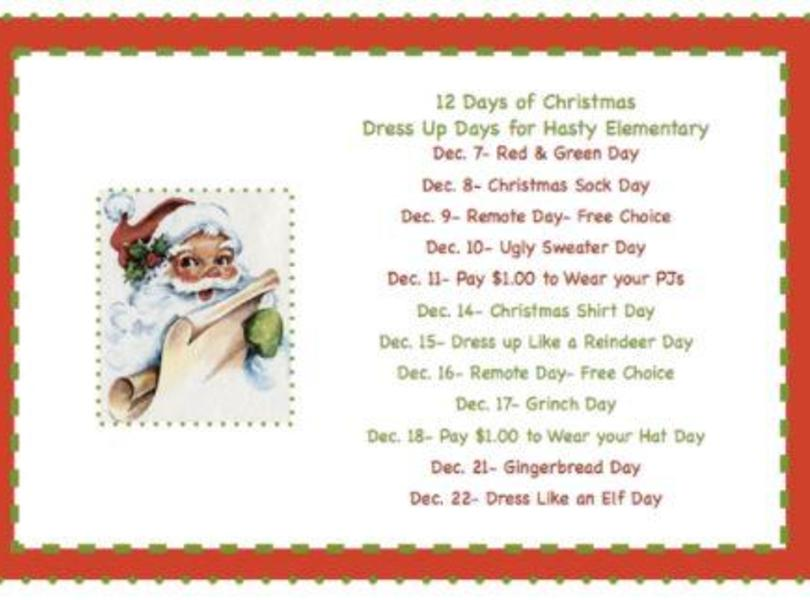 12 Days of Christmas Dress Up at Hasty