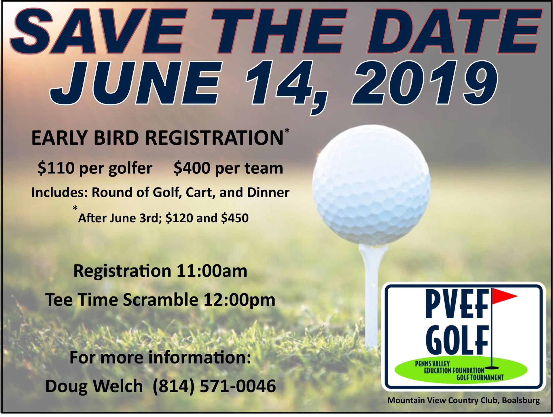 PVEF golf tournament save the date