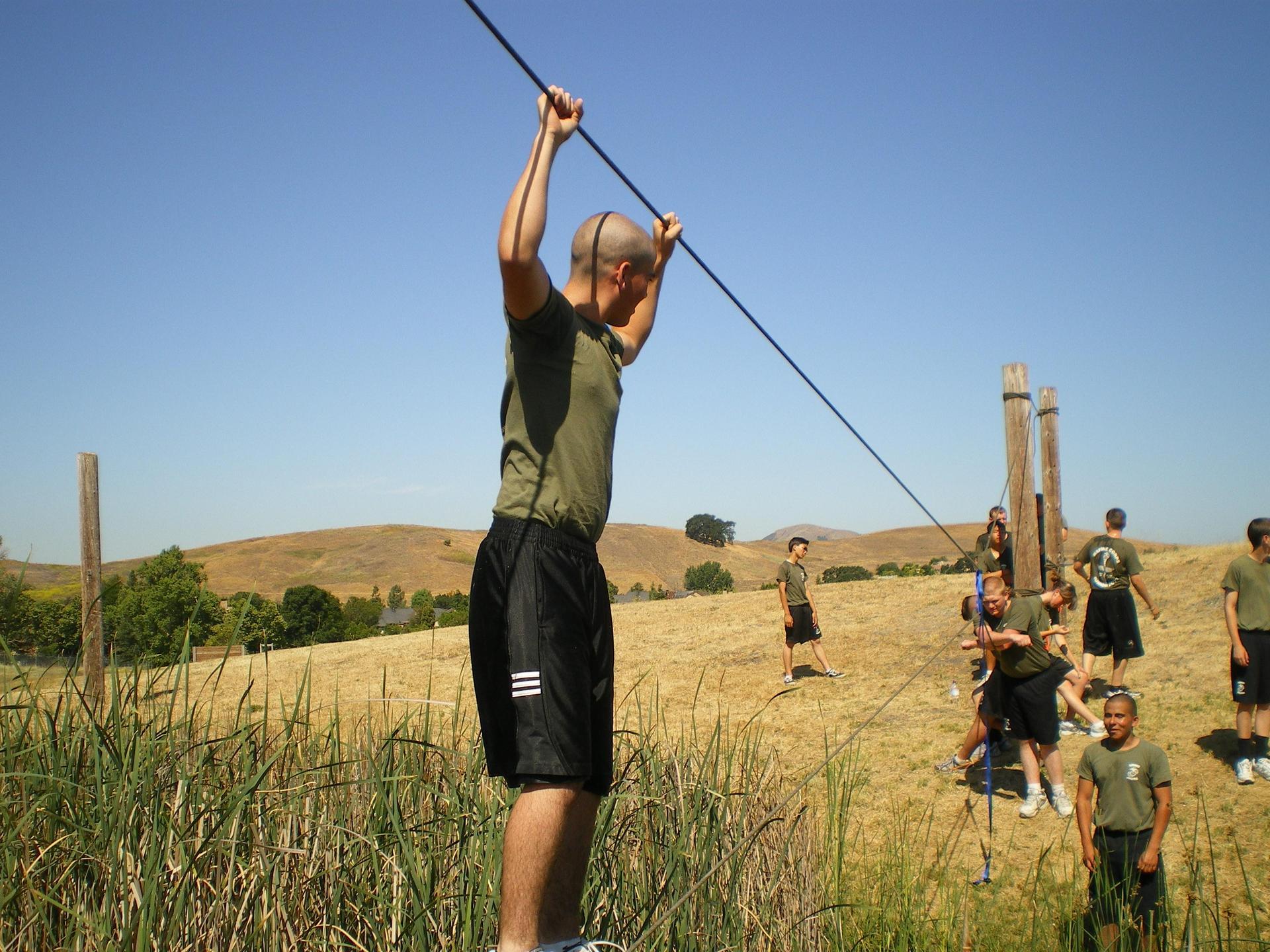 MCJROTC cadets doing teamwork activities
