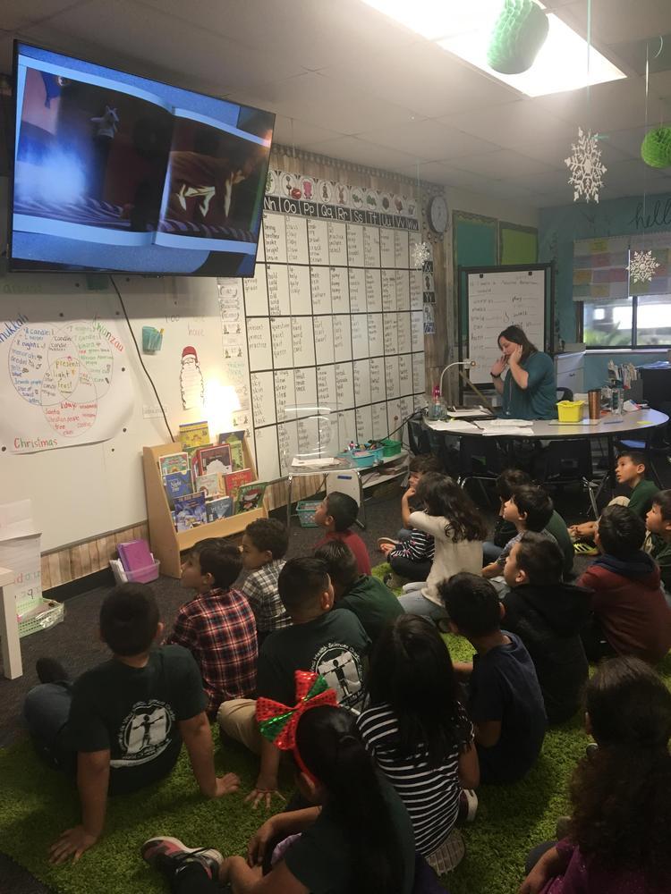 Children listening to Polar Express