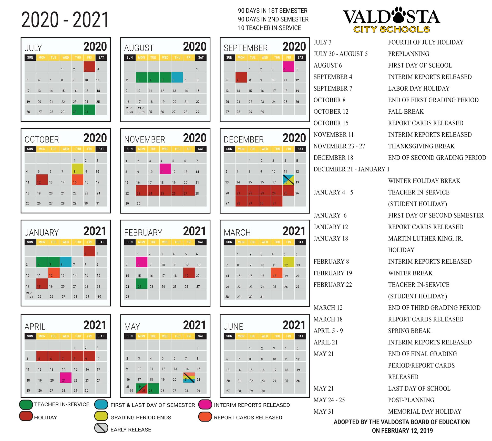 2020 2021 Academic Calendar Student Support Services