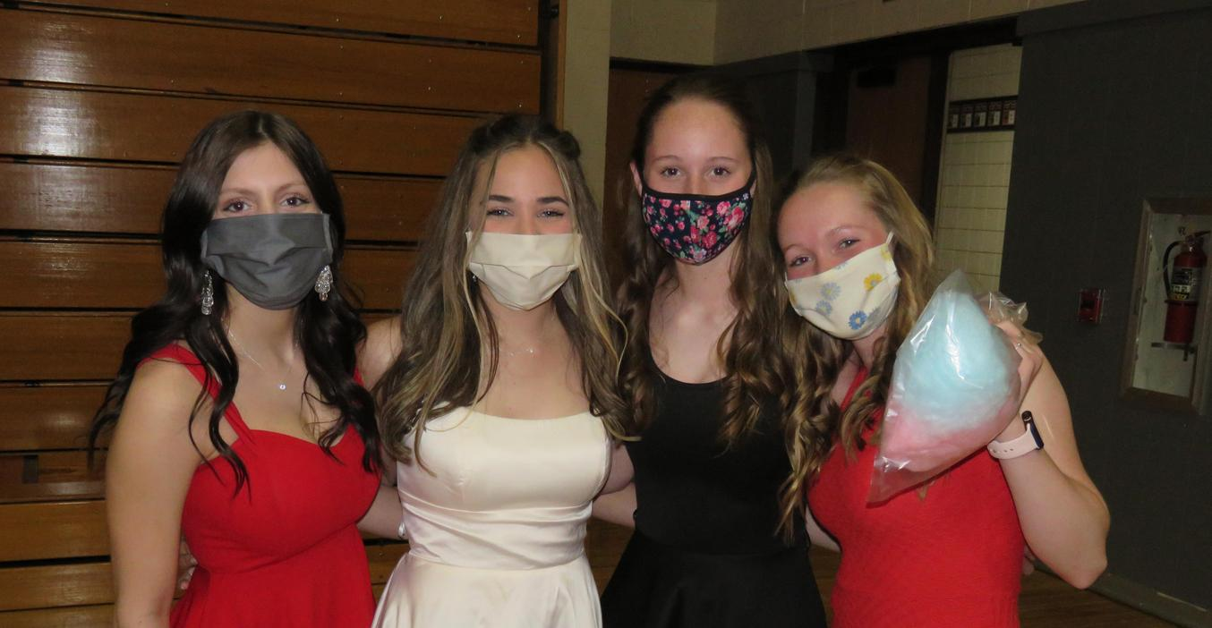Senior girls are all dressed up for the unconventional prom.