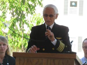 Retired U.S. Navy Capt. Bob Bender challenges students to never forget 9-11 and to do selfless acts of giving.