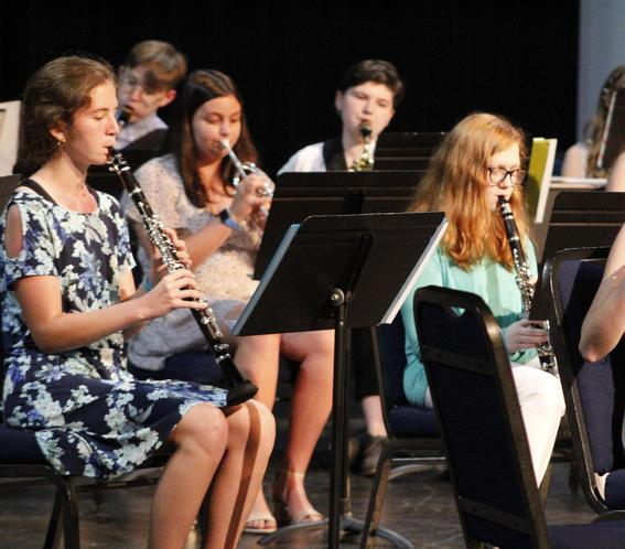 wind instrument ensemble, seated