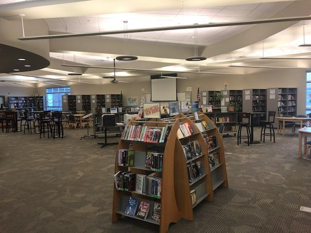 Library image, book display, tables